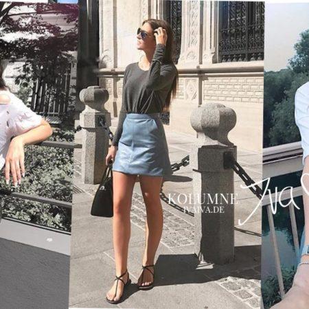 Trendguide - Lederrock richtig kombinieren: Shirt, Patches & Louis Vuitton Clutch